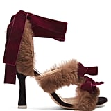 Attico Diletta Velvet-Bow and Fur Sandals, $870
