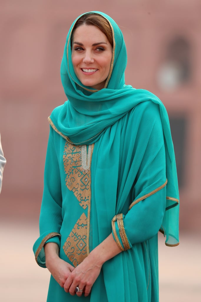 The royal tour of Pakistan is in full swing, and Kate Middleton has already given us some memorable looks. After taking her wardrobe in a slightly different direction over the last few months, this week the duchess has gone back to what she knows best, choosing a mix of classic designers and local talents to craft a tour wardrobe that's elegant, timeless, and inspired by local traditions.  From the moment she stepped off the plane, it became clear that Kate's wardrobe for this historic royal tour would take its cue from the location, with the duchess's first look inspired by the shalwar kameez, a traditional combination dress worn in large parts of South and Central Asia. Though the piece was by a British label, Catherine Walker, it definitely suited its surroundings and had many people thinking back to Princess Diana, who wore the same label and took a similar sartorial approach when she visited Pakistan in 1996. As the tour continued, Kate stuck to this approach, carefully mixing pieces by local designers like Maheen Khan with custom styles from her most established go-to British designers. She also sprinkled in some affordable items from both locations, including a pair of New Look shoes and jewelry by Zeen, and stunned in an incredible evening gown from one of her favorite designers for an evening reception. Keep reading to take in all her tour looks.      Related:                                                                                                           63 Style Lessons Kate Middleton Taught Us That We'll Never Forget