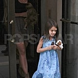 Katie Holmes and Suri Cruise leaving their NYC apartment.