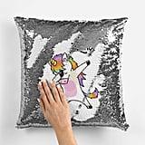 Reversible Sequin Dabbing Unicorn Cushion