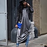 We haven't retired the classic slip dress over jeans just yet. To give the look a true street style touch, wear with a printed shoe.
