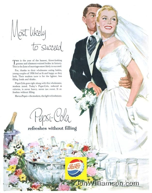 I don't think they had figured out yet that drinking soda probably isn't the best way to slim down before your wedding day.