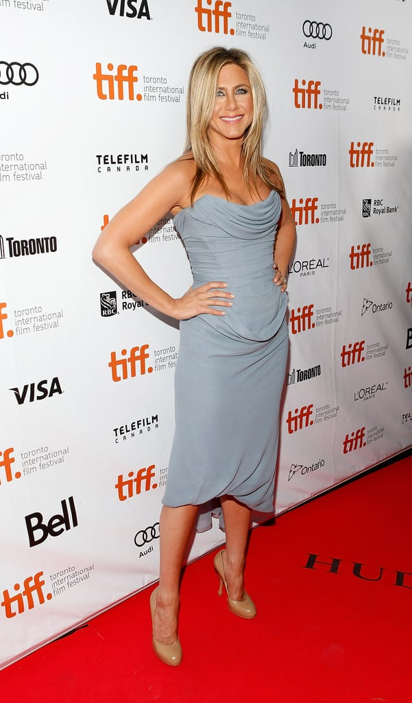When Jennifer Aniston slipped into a gray Vivienne Westwood Couture dress at the Life of Crime premiere at the Toronto Film Festival, we could not stop staring, especially at that gorgeous bustier top.