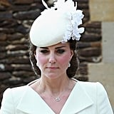 More recent purchases have been from Mappin and Webb — Kate has worn the Fortune white gold drop pendant to assorted engagements, and chose their Empress pendant and earrings for Princess Charlotte's christening.