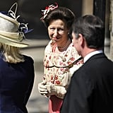Princess Anne smiles at the wedding.