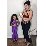 Why let your child have all the fun when you can join in, too. Mom can go daring in Selena's red sequined top and leggings, while mini Selena can don the most adorable purple jumpsuit.