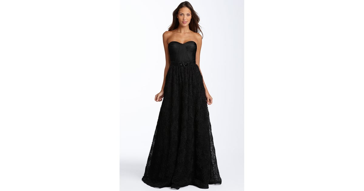 Adrianna Papell Pleat Bodice Rosette Ball Gown 238 10 Chic Black Bridesmaid Gowns Inspired By Kate Bosworth Popsugar Fashion Photo 2