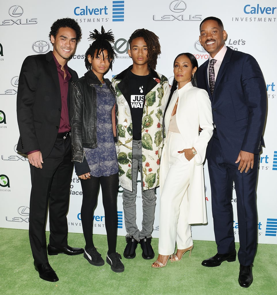 "Will Smith stepped out with his wife, Jada, their kids, Jaden and Willow, and his son, Trey, for the Environmental Media Awards in LA on Saturday night. The fierce brood struck a handful of poses together on the red carpet before taking their seats inside. It was a big night for Jaden, who received the male EMA futures award at the event, which honors stars who've influenced the environmental awareness of millions of people.  Jaden and Willow recently graced the cover and pages of Interview magazine, and in the accompanying interview, Jaden opened up about looking up to his famous parents, saying, ""My parents are definitely my biggest role models. And that's where me and Willow both pull all of our inspiration from to change the world."" He also touched on fame, adding, ""How people look at us in public is not how we actually are in private. It's just that we choose not to tell everyone everything.""      Related:                                                                                                           The Smith Family's Most Memorable Red Carpet Moments"