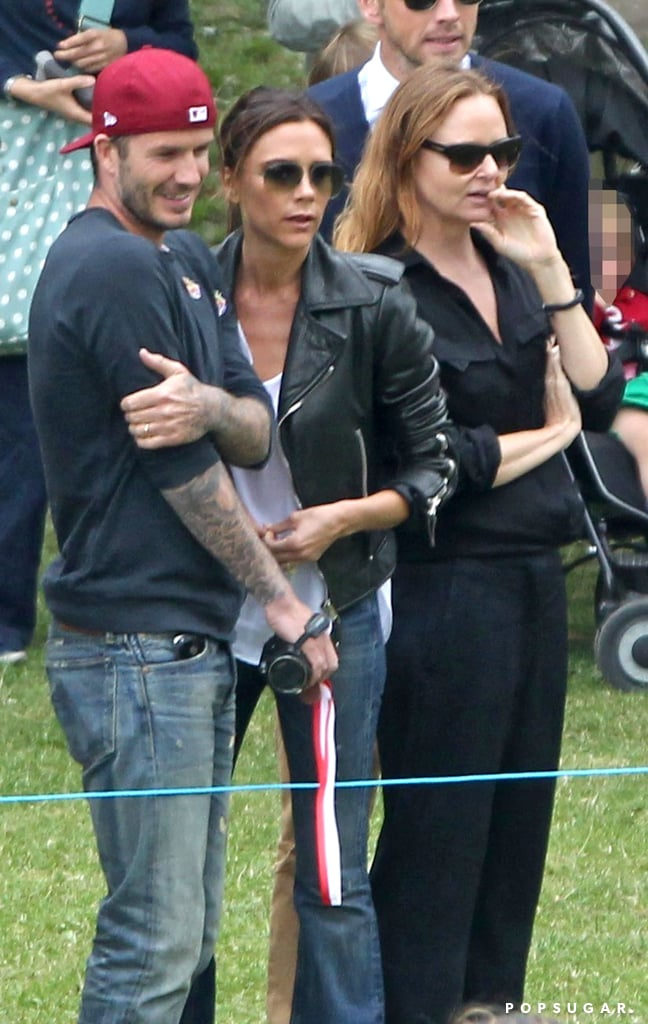 David and Victoria Beckham watched while their son Cruz played in his school's annual sports day.