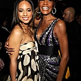 Alicia Keys and Whitney enjoy Clive Davis's pre-Grammys party in 2008.