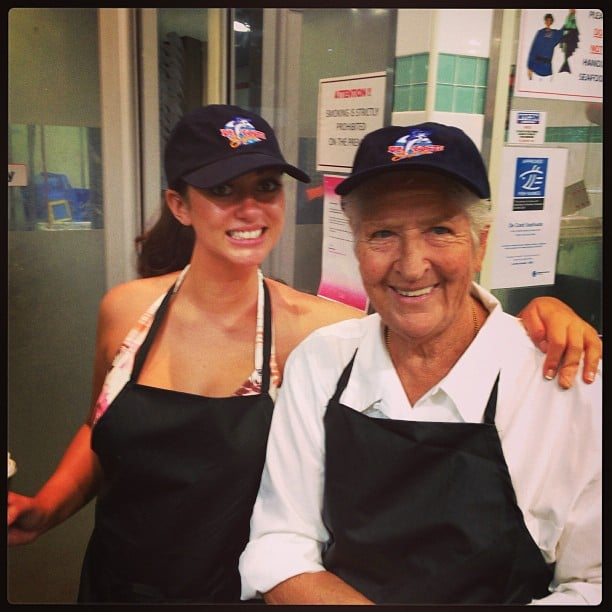 Layla Subritzky and Dawn Fraser wore aprons and caps for one of the challenges. Source: Instagram user laylasubritzky
