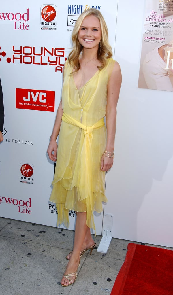 Kate was all smiles in a draped yellow chiffon dress at a 2008 Hollywood Life party in LA.