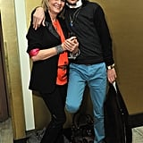 Twiggy paired orange and black together at the Matthew Williamson party.