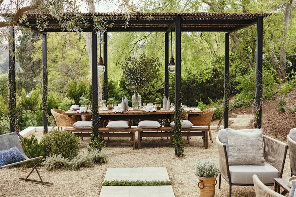 """""""I love having friends and family over for dinner parties, it's an excuse to decorate!"""" says Julianne. Her pergola-covered table is the ideal spot for day or nightime feast because it blocks the blinding sun from guests's eyes. """"I love my pergola, which has a hand-woven roof that adds so much character to my yard."""""""