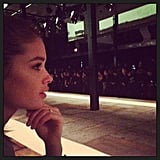 Doutzen Kroes checked out the Theyskens' Theory show. Source: Twitter user Doutzen