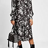 McQ Alexander McQueen Printed Dress with Tie-Neck
