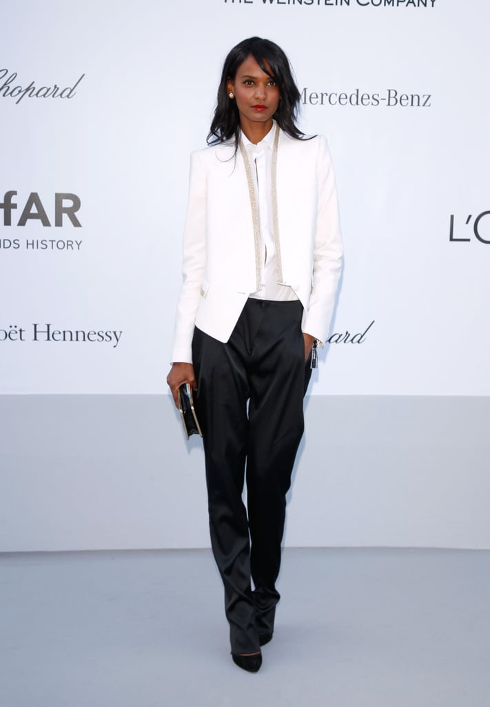 Liya Kebede struck a pose in her cool-girl black-and-white menswear-inspired look.