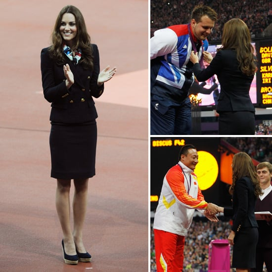 Kate Middleton Participates in 2012 Paralympics Medal Ceremony For Men's Discus Throw