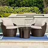 Bryson 3-Piece Brown Wicker Set With Textured Beige Cushions