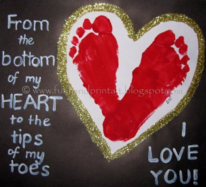 Footprint Heart ValentineS Day Keepsake  ValentineS Day Crafts