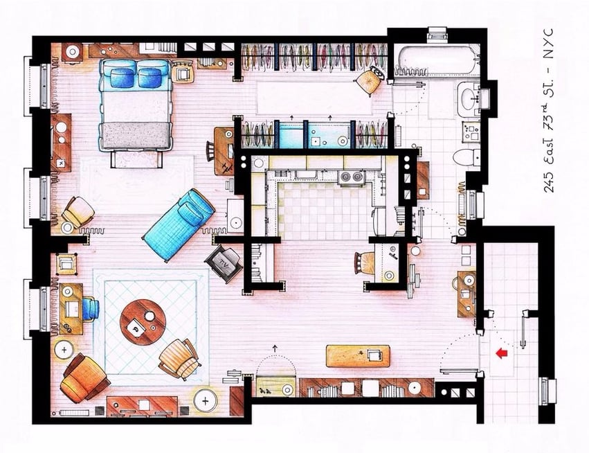 Layouts of Your Favorite TV Character's Apartments