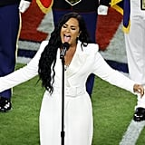 Demi Lovato's White Tuxedo Jumpsuit at the Super Bowl LIV