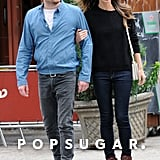 Lily Aldridge and Caleb Followill crossed the street in NYC.