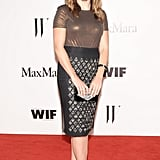 Sophia Bush opted for ample shine in a Max Mara bronze short-sleeved tee and a Sportmax gray silk chiffon pencil skirt.  Source: Owen Kolasinski/BFAnyc.com