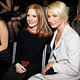 Cameron Diaz and Jessica Chastain stopped for a photo.