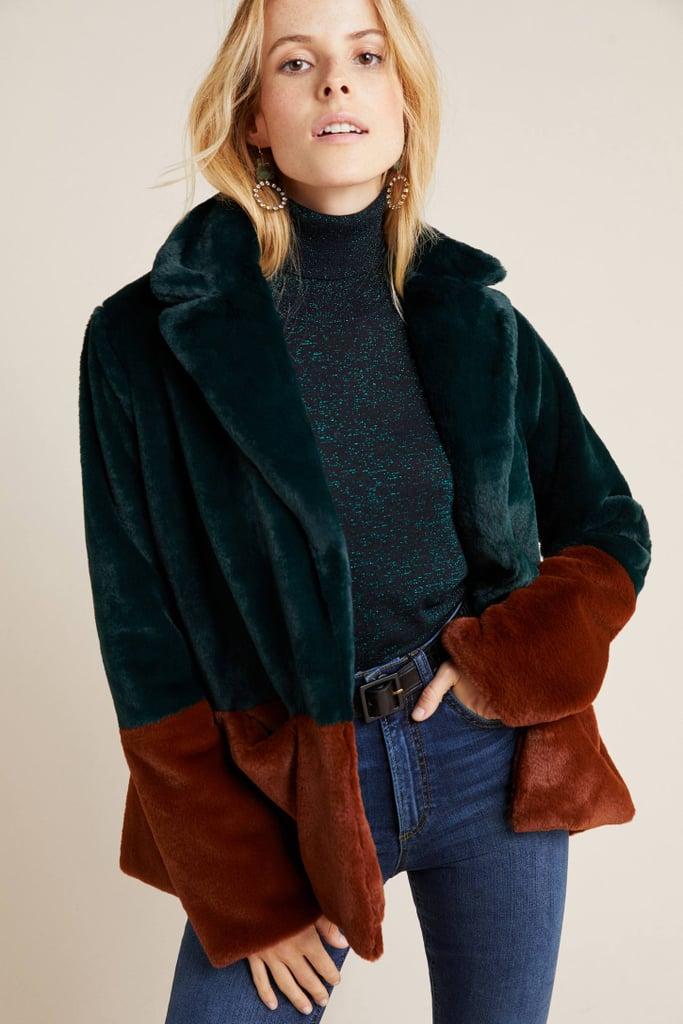 Marcena Colorblocked Faux Fur Jacket