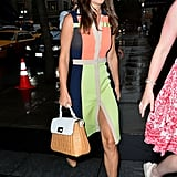 She teamed her Paper London Rayleigh dress with her trusty Russell & Bromley Coco Pop wedges and Kate Spade bag.
