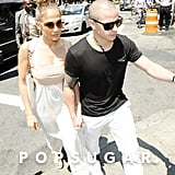 Jennifer Lopez went to lunch with boyfriend Casper Smart in NYC on her birthday.