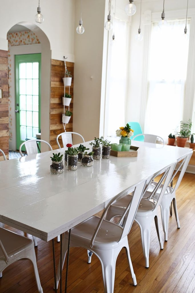 A long dining table with plenty of seating is a no-brainer for Hufflepuffs. That way they can always prepare a tasty meal for their hungry loved ones. (You can DIY this table, too!)