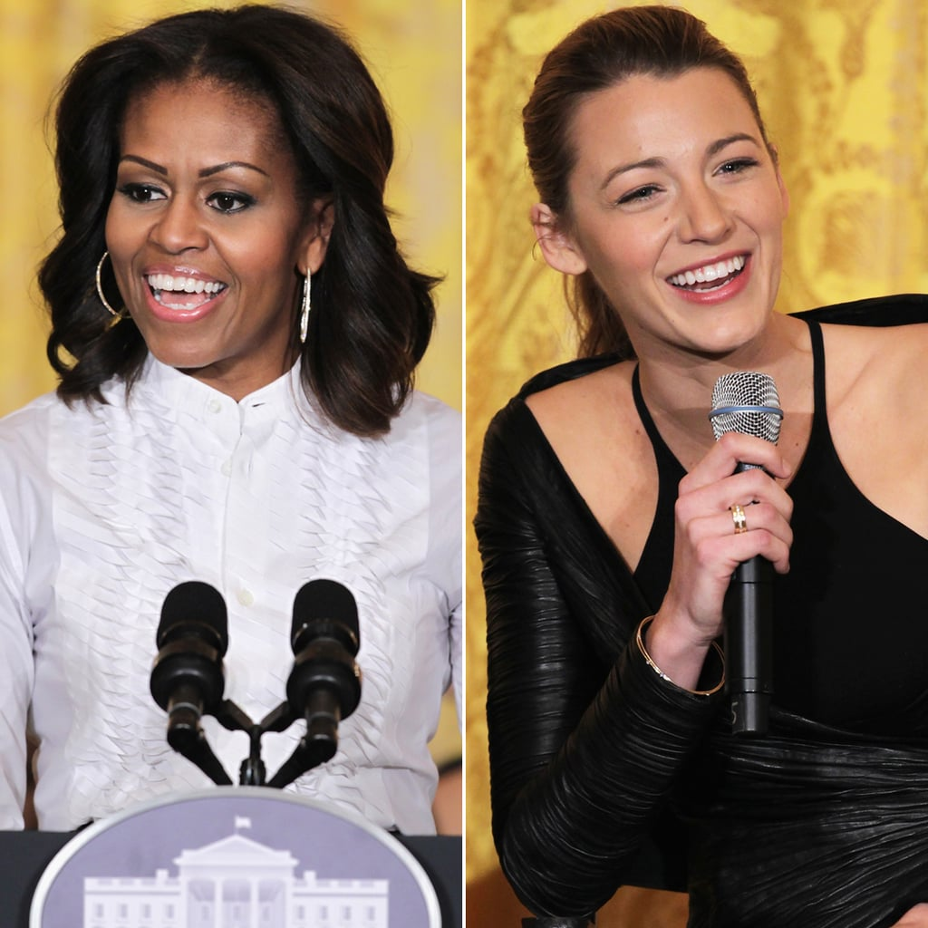 Michelle Obama And Blake Lively With Students At White House