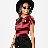 Sourpuss Red and Black Stripe Jolly Roger Knit Top