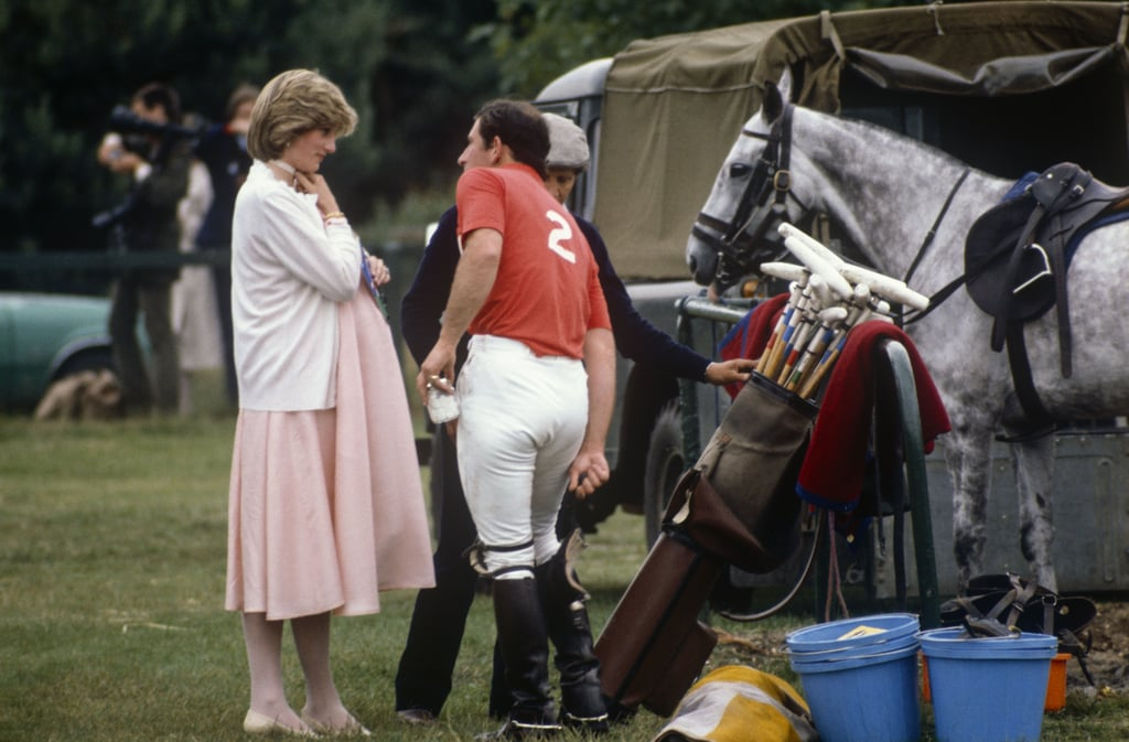 A pregnant Diana chatted with Charles at a polo match in Windsor Park in 1982.