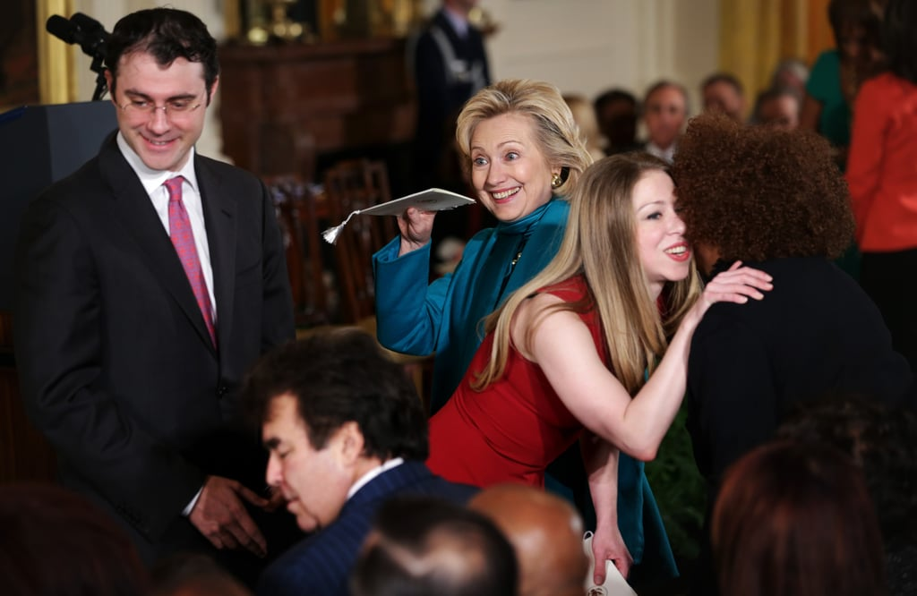 Hillary Clinton and her daughter, Chelsea Clinton, met with different guests in the crowd.