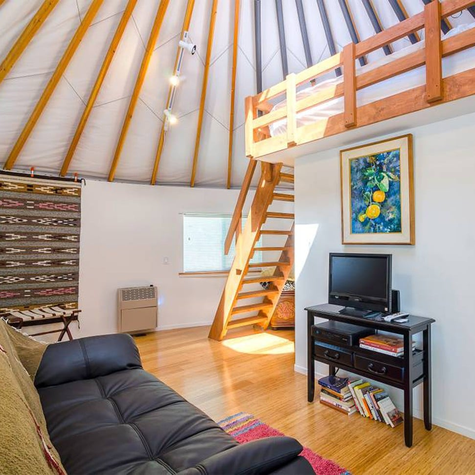 Malibu Farm Yurt On Airbnb Popsugar Smart Living Beautiful, spacious yurt with solid wood floor and persian rug. malibu farm yurt on airbnb popsugar
