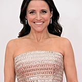 Julia Louis-Dreyfus is a prime example of how to mix your nude shades. She wore a taupe shadow and a neutral lipstick to match her champagne-coloured gown.