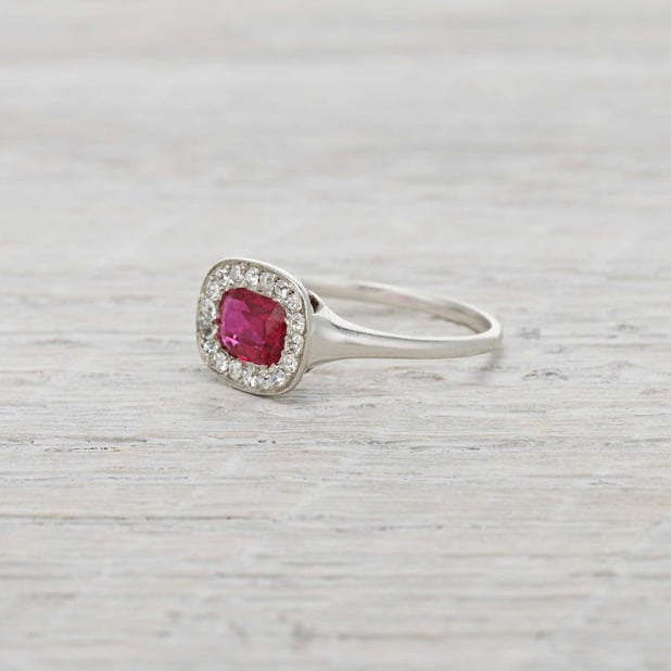 Custom Burma Ruby Ring: Erstwhile Jewelry Edwardian Burma Ruby And Diamond Ring