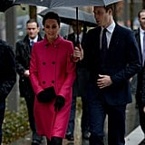 She Donned a Mulberry Coat and Jimmy Choo Heels on a Rainy Day in New York