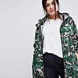 ASOS Curve Rain Jacket in Camo Print
