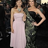 Kate Beckinsale linked up with Jessica Biel at the Total Recall premiere in LA.