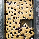 Sheet pan yogurt pancakes with blueberries