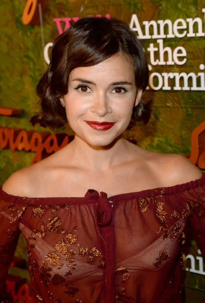 Miroslava Duma matched her burgundy lipstick to her outfit.