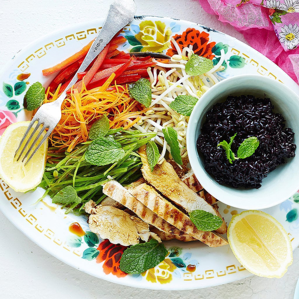 Chilli, Ginger and Lemon Grass Grilled Chicken With Rainbow Salad