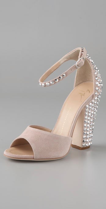 """A pair of fabulous, crystal-studded heels you'll wear long after you say """"I do.""""  Giuseppe Zanotti Suede Ankle Strap Sandals with Crystals ($1,195)"""