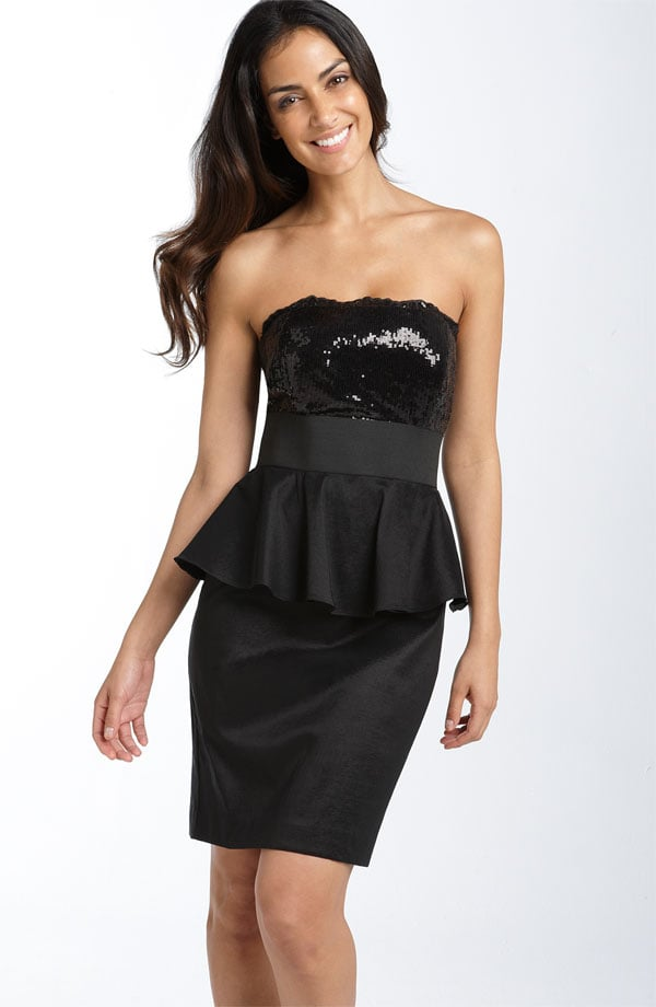 Cachet Sequined Hammered Satin Peplum Dress ($148)
