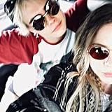Ashley posted this blurry selfie with Cara.