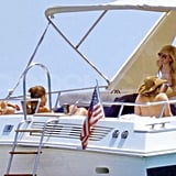 Avril Lavigne lounged on a yacht in her bikini.